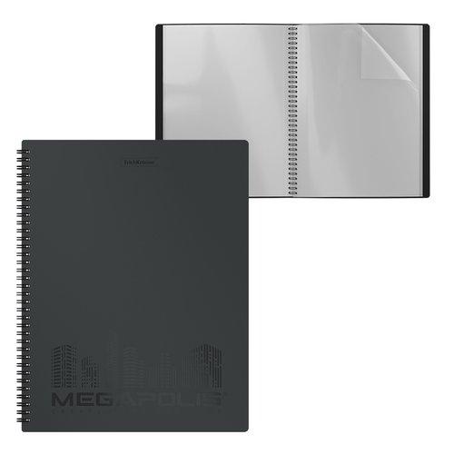 Папка файловая пластиковая на спирали ErichKrause MEGAPOLIS, c 20 карманами, A4, черная