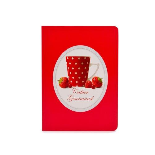 """Тетрадь """"Красные фрукты и чашка"""" А5, в линейку, красная"""