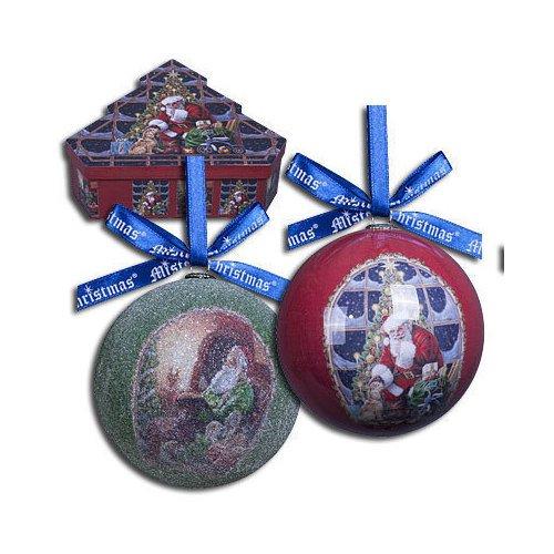 Набор шаров Папье-маше набор новогодних подвесных украшений mister christmas папье маше диаметр 7 5 см 6 шт pm 25 6t