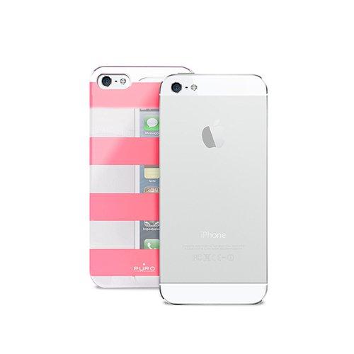 "лучшая цена Чехол для iPhone 5 ""Stripe Cover"" розово-серебряный"