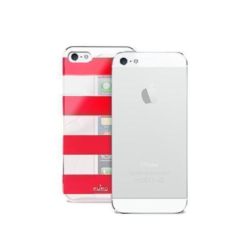 "лучшая цена Чехол для iPhone 5 ""Stripe Cover"", красно-серебристый"