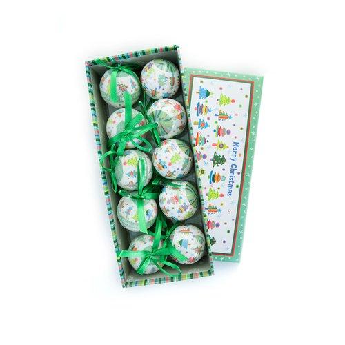 """Новогодние шары """"Зелено-белые"""""""