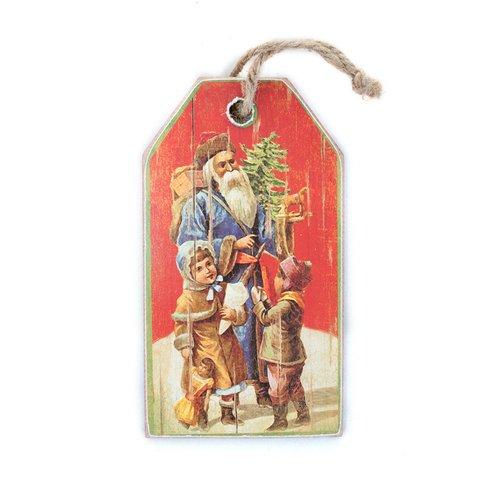"""Новогоднее украшение на подвесе """"Ретро-Санта"""""""