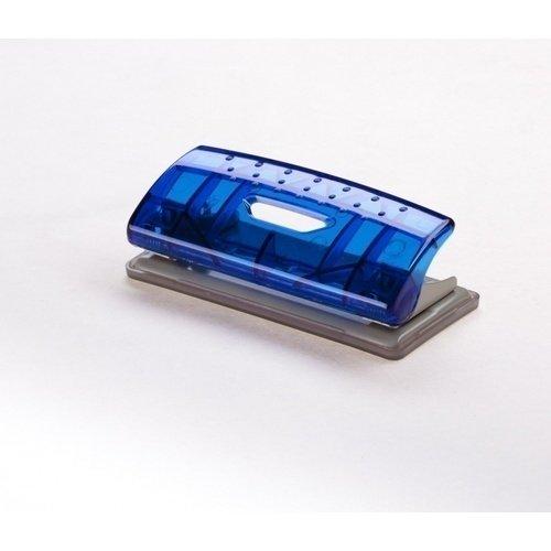 Дырокол Mini Transparent синий дырокол толщина прокола до 15 листов с линейкой пластиковый корпус ассорти
