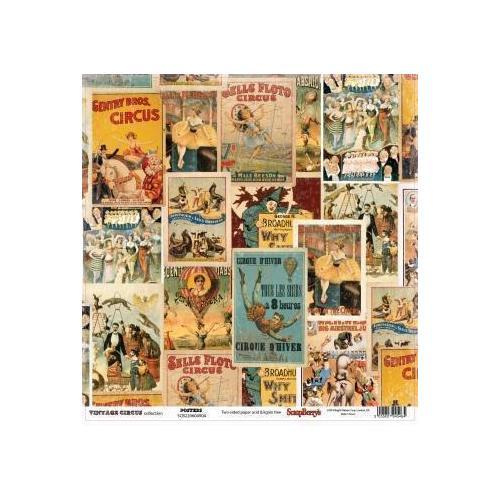 Бумага для скрапбукинга Старый цирк. Афиши бумага для скрапбукинга двусторонняя basic grey capri