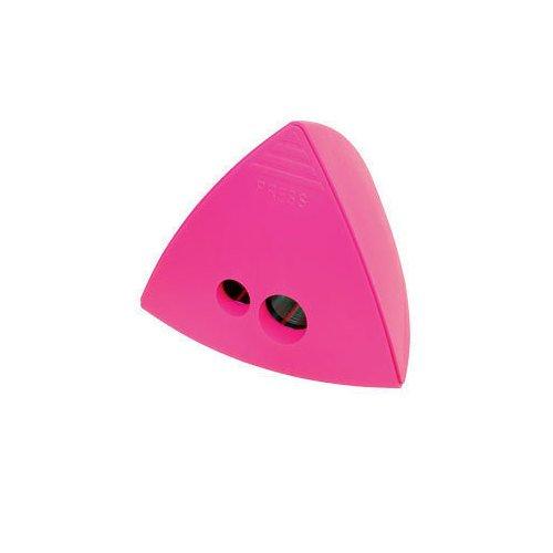 Точилка для карандашей двойная розовая треугольная