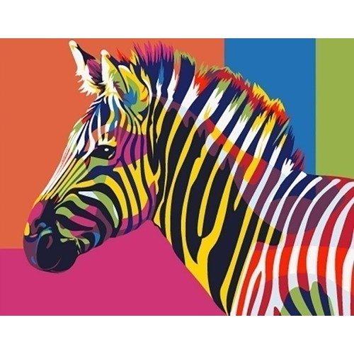 Раскраска по номерам Радужная зебра, 13 х 16,5 см