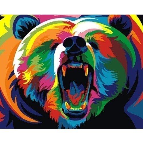 Раскраска по номерам Радужный медведь, 13 х 16,5 см