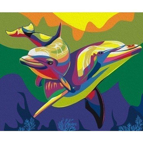 Раскраска по номерам Радужные дельфины раскраска по номерам радужные дельфины