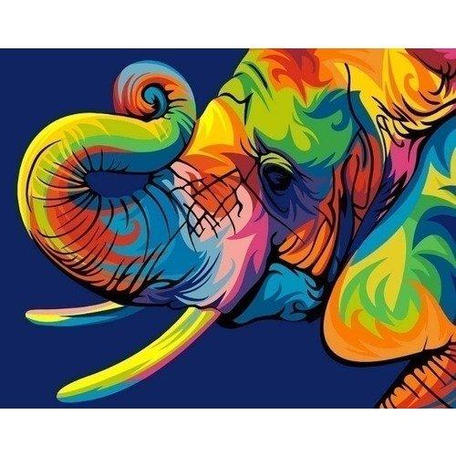 цена на Раскраска по номерам Радужный слон, 40 х 50 см
