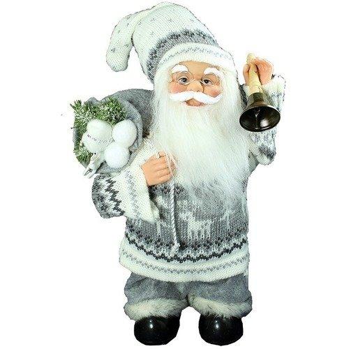 Мягкая игрушка музыкальная Санта в белой куртке и штанах с мешком и колоколом, 36 см игрушка мягкая санта клаус снеговик 18 7 27см 2вида с декоративными стразами упаковочный пак