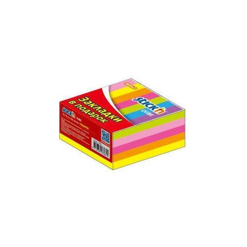 Блок самоклеящийся бумажный с пластиковыми закладками неон 5 цветов цена и фото