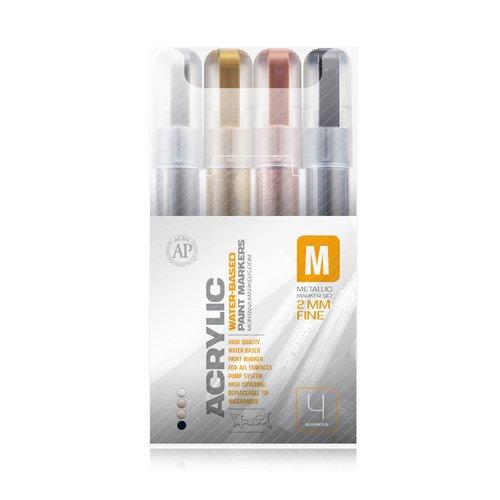 "Набор маркеров ""Acrylic fine metallic"", 2 мм, 4 цвета"
