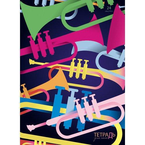 Тетрадь для нот Яркие звуки А4 тетрадь для нот музыка а4 черная