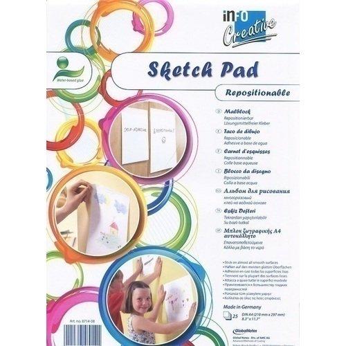 Самоклеящаяся бумага для рисования Creative А4 белая бумага миллиметровая 25 листов а4 отрывная склейка голубая сетка