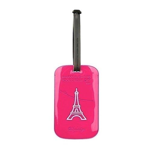Бирка для багажа Paris, розовая