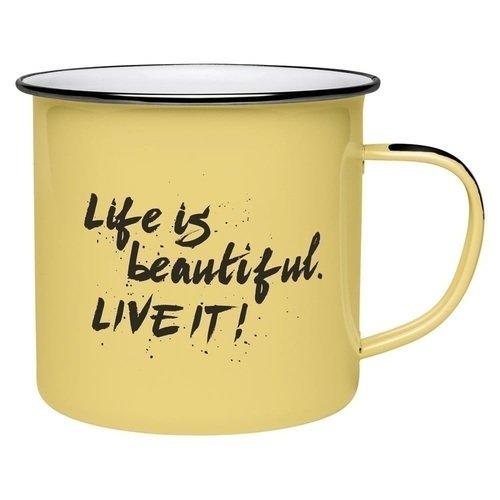 Кружка эмалированная #Enamel Quotes - Life is beautiful, 250 мл кружка enamel lichen page 5