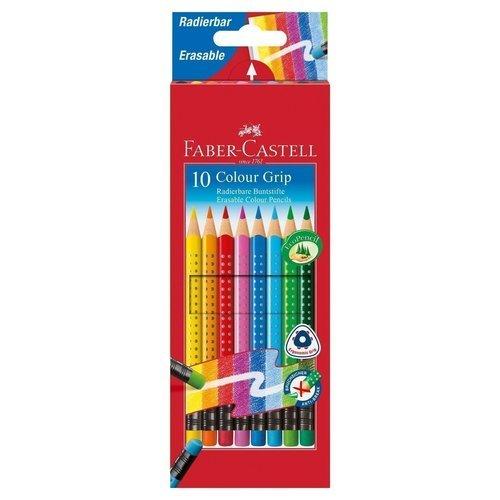 """Карандаши цветные """"Grip 2001"""", с ластиками, 10 цветов"""
