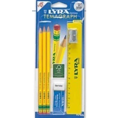 Набор чернографитных карандашей Temagraph набор канцелярии depesche 2 простых карандаша ластик линейка 15 см двойная точилка в чехле 10009867