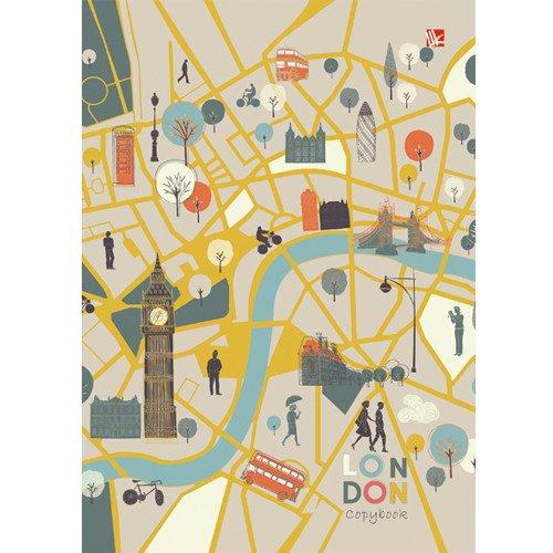 Тетрадь на кольцах Карта Лондона (графика), А5, 120 листов, клетка тетрадь floret 120 листов кольцевой механизм клетка а5 n989
