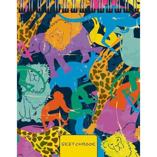 """Скетчбук с твердой обложкой """"Красочные звери"""", А6, 80 листов, без линовки"""