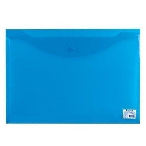 Папка-конверт с кнопкой А3, прозрачная, синяя