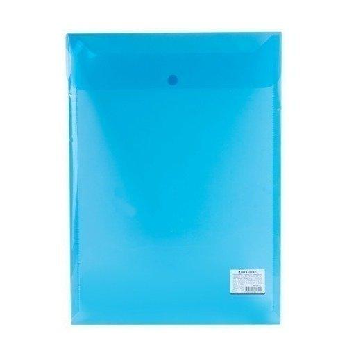 Папка-конверт с кнопкой А4, вертикальная, прозрачная, синяя эффективное дели 3423 5 крафт конверт почтовое отделение стандартный конверт 220 110мм 20 листов одного пакета