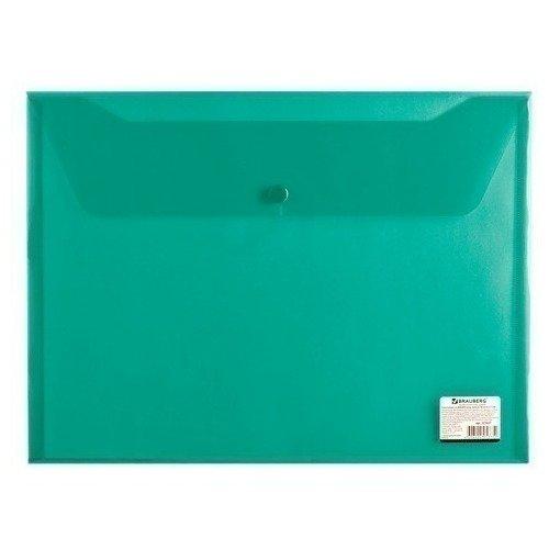 Папка-конверт с кнопкой А4, прозрачная, зеленая папка конверт с кнопкой а4 прозрачная плотная синяя