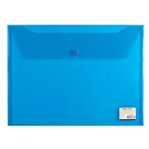 Папка-конверт с кнопкой А4, прозрачная, синяя папка конверт с кнопкой а4 прозрачная плотная синяя