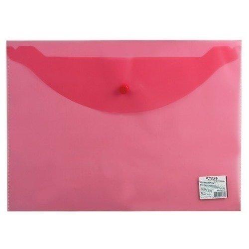 Папка-конверт с кнопкой эконом, А4, прозрачная, красная папка конверт с кнопкой а4 прозрачная плотная синяя