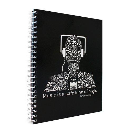 """Блокнот на спирали """"Музыка"""" А4, 70 листов, черный"""
