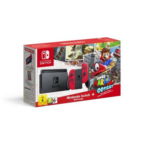 Игровая приставка Nintendo Switch красная + игра Super Mario Odyssey футболка классическая printio игровая приставка денди