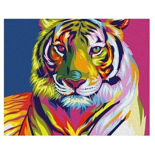 Картина на холсте по номерам Радужный Тигр картина на холсте по номерам салли