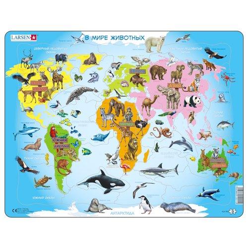 Пазл Карта мира с животными, 28 элементов пазл 3000 карта мира 1375г авраам крескес 16355