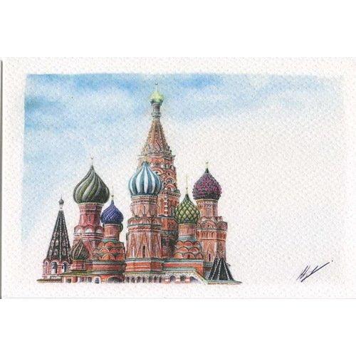Открытка Москва. Собор Василия Блаженного, карандаш еженедельник открытки из москвы собор василия блаженного