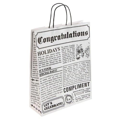 Подарочный пакет А3 Газета, 32 х 12 х 42 см пакет подарочный bello 32 х 10 х 42 см bal 116