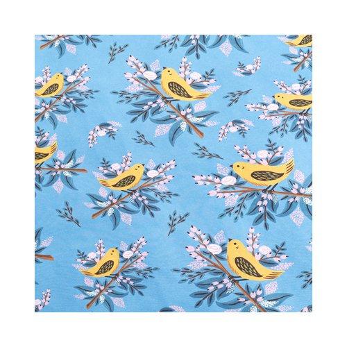 """Упаковочная бумага """"Птицы на синем фоне"""" 1070271, 70 х 100 см коробка упаковочная под вазу 28 5х11 5х13см"""