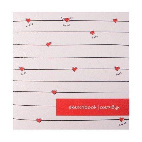 """Альбом для рисования """"Hearts"""", 40 листов, 120 г/м2, 170 х 170 мм"""