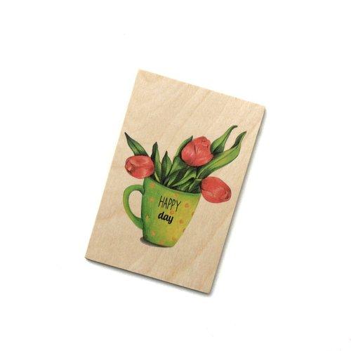 Деревянная открытка Кружка с цветами открытка 3d письмо с цветами