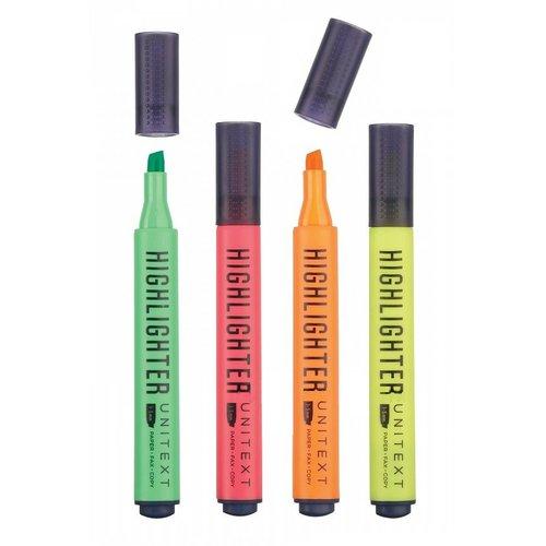 Набор текстовыделителей Unitext, 4 цвета набор текстовыделителей silwerhof prime 4 цвета 108031 00