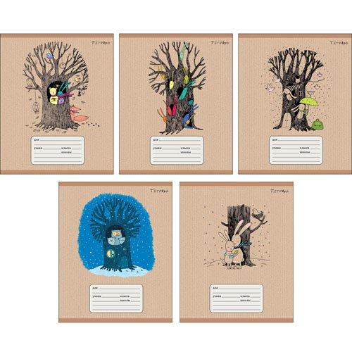 Тетрадь Сказочный лес А5, 24 листа в клетку, в ассортименте bondibon раскраска антистресс лес 24 листа в ассортименте