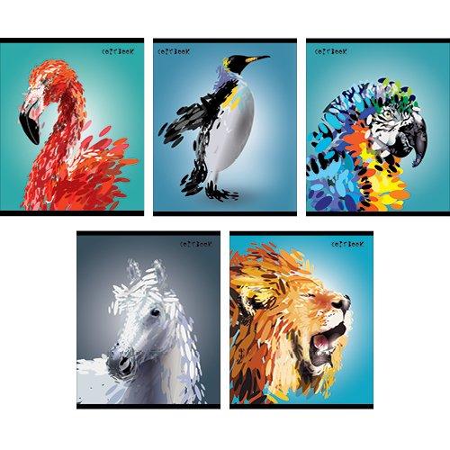 Тетрадь Яркие животные (графика) А5, 48 листов в клетку, в ассортименте тетрадь в клетку очаровательные животные а5