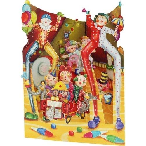 """Объемная открытка  """"Клоуны под куполом цирка"""""""
