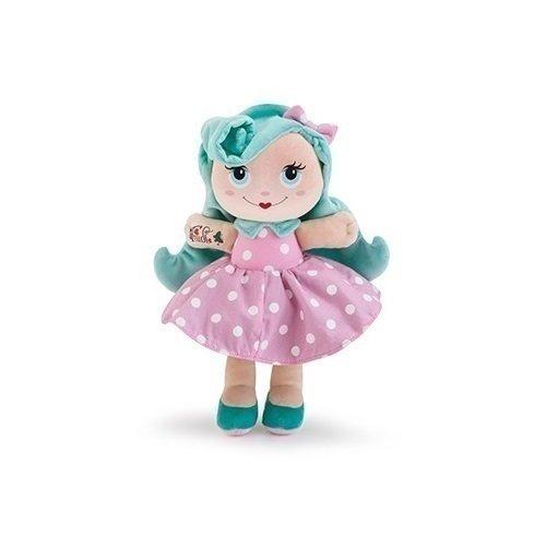 Мягкая кукла с голубыми волосами, 28 см цена