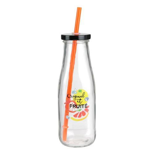 Стеклянная бутылочка с крышкой и соломенкой Paille, 450 мл бутылочка с системой подачи лекарства грудничку adiri md 118 мл
