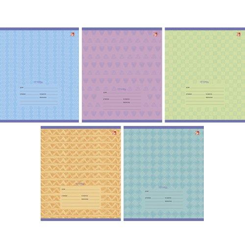 Комплект тетрадей Однотонный орнамент А5, 12 листов, в линейку, 5 видов тетрадь в линейку однотонный орнамент а5