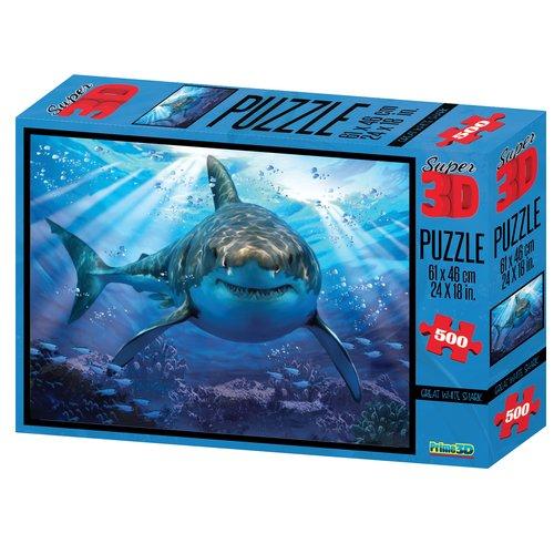 Купить Пазл Super 3D Большая белая акула , 500 элементов, Prime3D, Пазлы