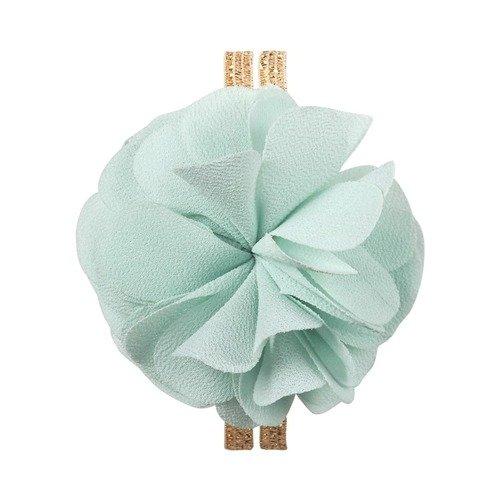 Резинка для волос, шифоновая, с цветком, мятная