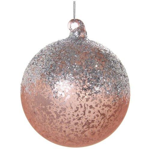 Елочный шар с блестками, 10 см, розовый