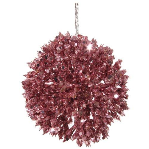Елочный шар, 9 см, розовый елочный шар снежное плетение ку 65 11 17 диаметр 6 5 см